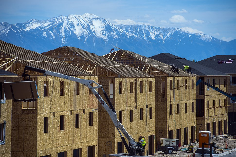 (Chris Detrick | Tribune file photo) Construction on new buildings in Vineyard City on May 23, 2017. Vineyard has been the nation's fastest growing city in recent years, helping Utah County to grow faster than Salt Lake County this decade.