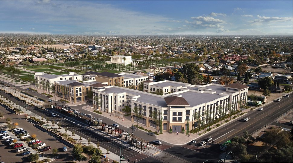 (Courtesy Intellectual Reserve Inc.) Plans have been announced to redevelop 4.5 acres of land near the Mesa Arizona Temple. This rendering offers a southeast view of the mixed-use community.