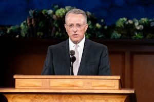 (Photo courtesy of The Church of Jesus Christ of Latter-day Saints) Apostle Ulisses Soares speaks Saturday, April 4, 2020.