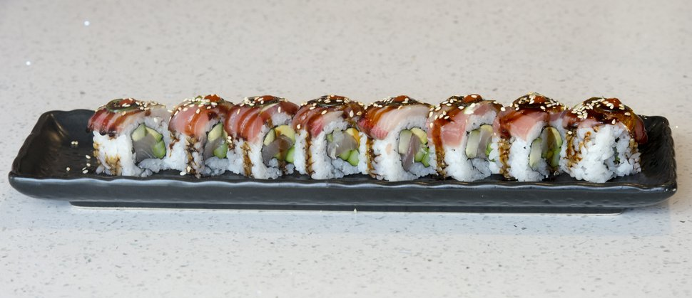 (Rick Egan | The Salt Lake Tribune) The Tequila Roll, at Hamachi Pescatarian Grill and Sushi, 488 E. 100 South, Salt Lake City, Monday, June 4, 2018.
