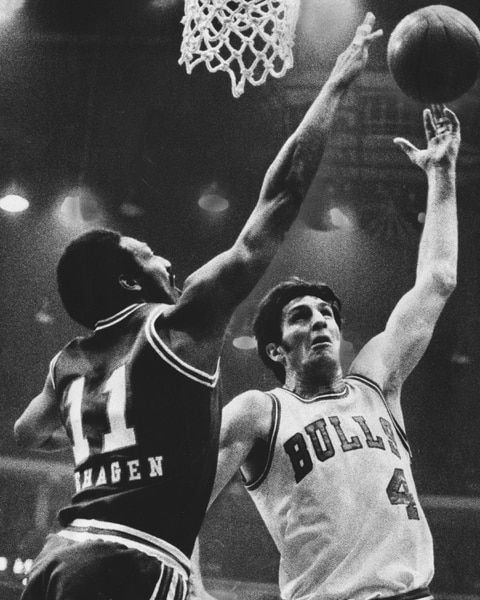 (Tribune file photo) Nicknamed The Original Bull, Jerry Sloan, pictured here in 1975, was in Chicago during the franchise's first 10 years. His grit and toughness made him one of the league's best defensive players and is one of only 18 players in history to be named to the NBA's All-Defensive First Team four times. He averaged 14 points, 7.5 rebounds and 2.5 assists during his 11 season. Sloan is now one of the league's most respected coaches, having led the Utah Jazz to two NBA title games.