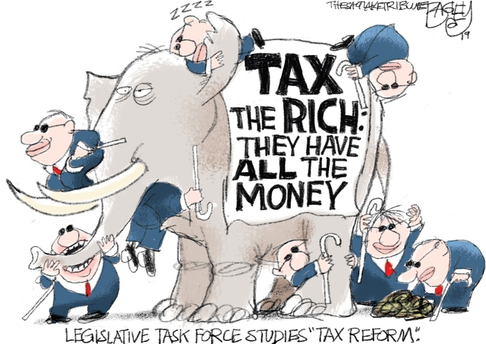 (Pat Bagley | The Salt Lake Tribune) This Pat Bagley cartoon, titled The Legislature's Taxing Task, appears in The Salt Lake Tribune on Tuesday, June 18, 2019.