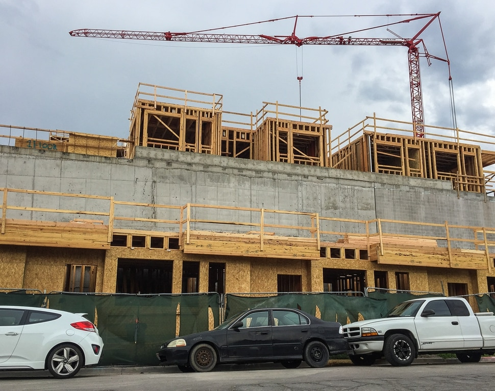 (Francisco Kjolseth   The Salt Lake Tribune) Construction at the former Granite Furniture in Sugar House continues at a quick pace as the new Sugarmont Apartments takes shape on Tuesday, May 22, 2018. New Census data shows that Salt Lake City has surpassed 200,000 residents, and again is the state's fastest-growing city by numbers. It added 5,891 residents between July 1, 2016 and July 1, 2017.