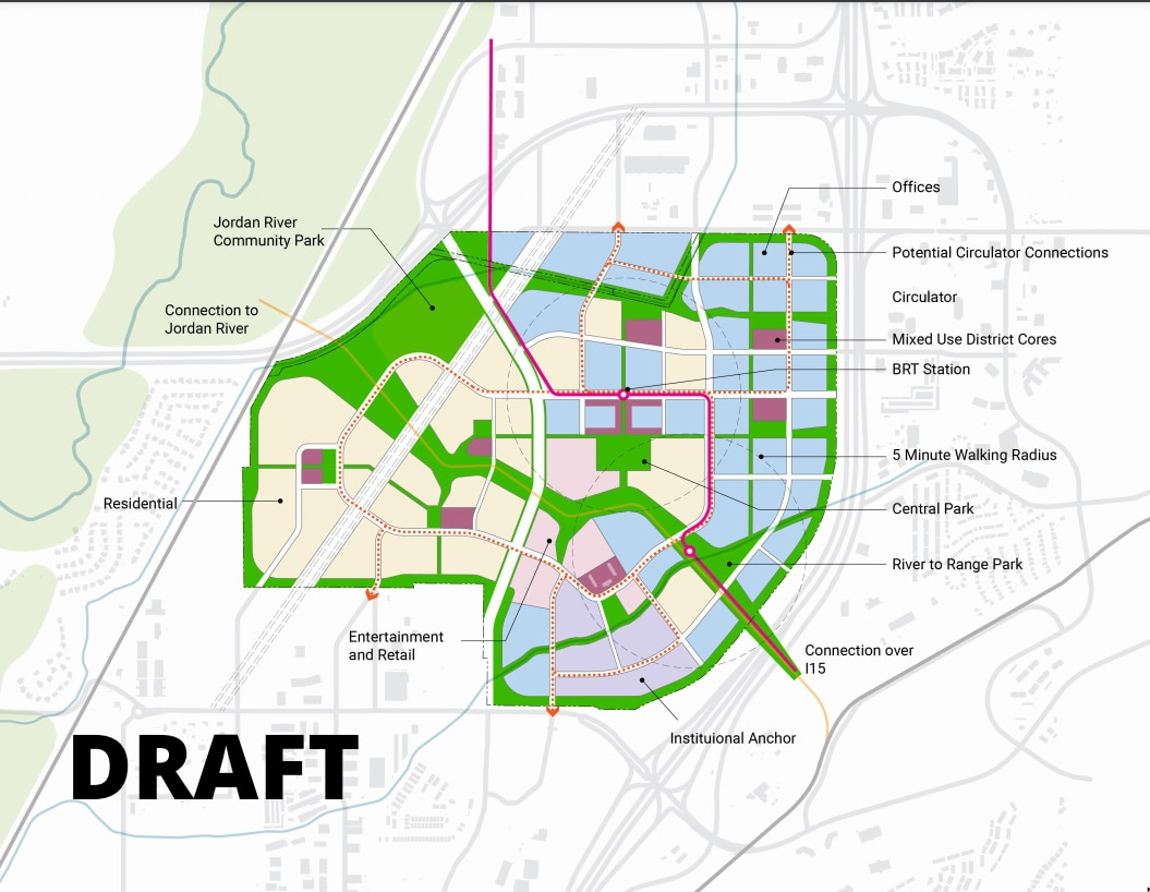 (Skidmore, Owings & Merrill, via The Point of the Mountain State Land Authority) A draft land use map for The Point. The state-backed business, housing and green space development at Point of the Mountain in Draper is planned on 600 acres along Interstate 15 and the Jordan River, at the site of the soon-to-be-relocated Utah State Prison. Planners are drawing public comment through May. Work at The Point could begin sometime in 2022.