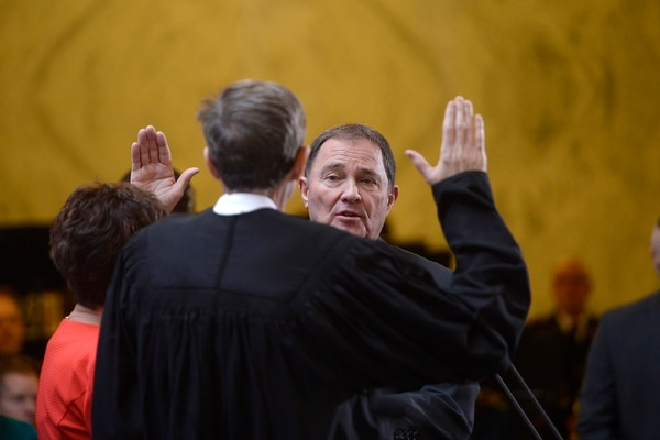Scott Sommerdorf | The Salt Lake Tribune Utah Governor Gary R. Herbert takes his oath of office at the State of Utah's Inaugural Ceremony in the Capitol rotunda, Wednesday, January 4, 2017.