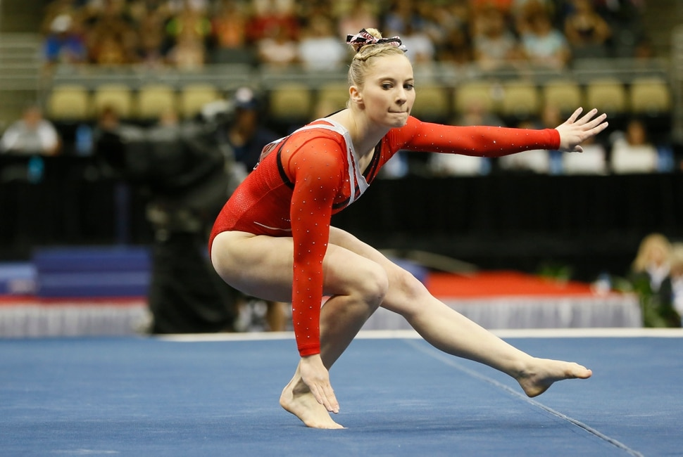 MyKayla Skinner performs in the floor exercise at the U.S. women's gymnastic championships on Saturday, Aug. 23, 2014, in Pittsburgh. (AP Photo/Keith Srakocic)