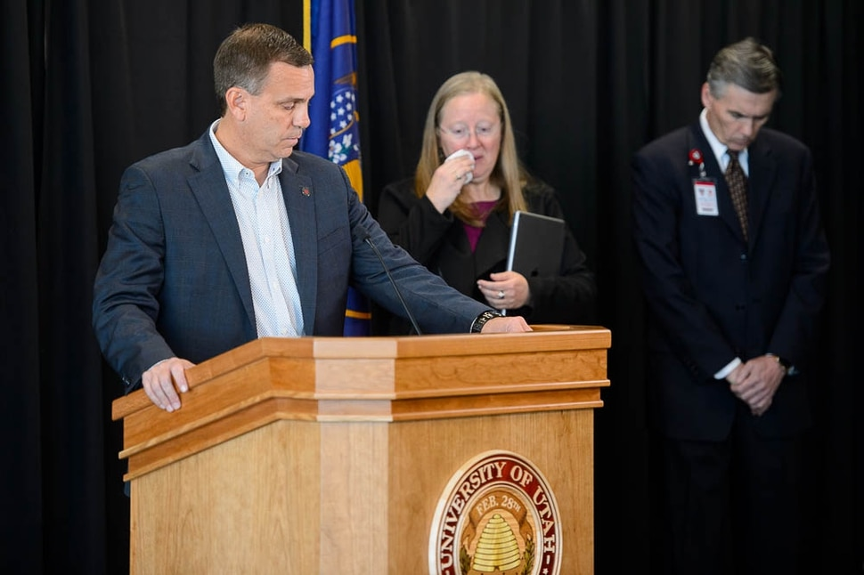 (Trent Nelson | The Salt Lake Tribune) Athletic Director Mark Harlan speaks at a press conference regarding the murder of University of Utah student athlete Lauren McCluskey at Rice-Eccles Stadium in Salt Lake City, Tuesday Oct. 23, 2018. At rear are Lori McDonald and Michael Good.