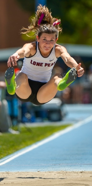 (Leah Hogsten | The Salt Lake Tribune) Lone Peak's Mandy Beus came in 6th in the 6A Girls' Long Jump with a distance of 16' 8 at the 2018 Utah UHSAA State Track and Field Championships at Clarence Robison Track on the campus of Brigham Young University in Provo, Thursday, May 17, 2018.