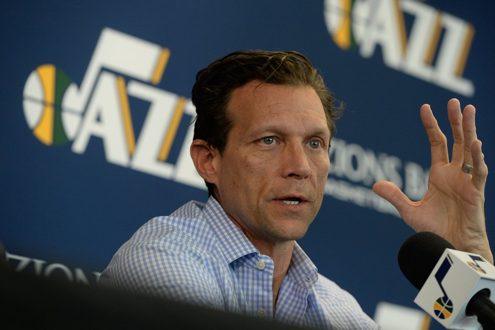 (Francisco Kjolseth | The Salt Lake Tribune) Utah Jazz head coach Quin Snyder speaks with the media during exit interviews at their practice facility in Salt Lake City Wed., May 8, 2018, after losing to the Houston Rockets in game 5 of their Western Conference Finals during the 2018 NBA Playoffs.