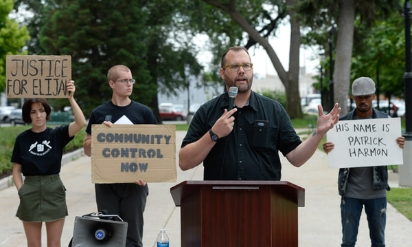 (Francisco Kjolseth | The Salt Lake Tribune) David Newlin with Utah Against Police Brutality holds a news conference at the Salt Lake City and County Building on Monday, July 16, 2018, to discuss a crafted city ordinance that sets a