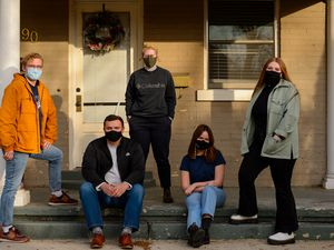 (Trent Nelson     The Salt Lake Tribune) Grant Frazier, David Clove, Martha Harris, Gracia Lee, and Isabella Olson are some of the people behind Prodigal Press, a new underground student newspaper at BYU, in Provo on Monday, Jan. 25, 2021.