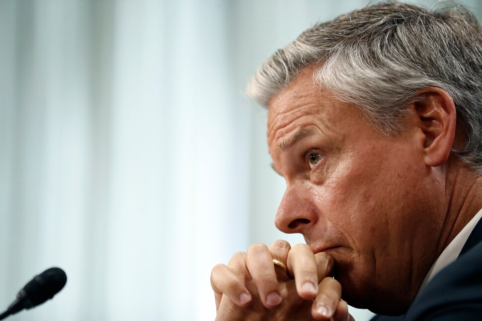 (AP Photo/Alex Brandon) Former Utah Gov. Jon Huntsman listens as he testifies during a hearing of the Senate Foreign Relations Committee on his nomination to become the U.S. ambassador to Russia, on Capitol Hill, Tuesday, Sept. 19, 2017 in Washington.