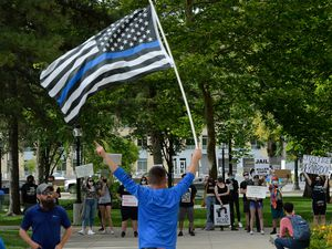 (Francisco Kjolseth  |  The Salt Lake Tribune) Supporters of law enforcement gathered at City Hall in Salt Lake City for a rally in support of police on Saturday, June 20, 2020.