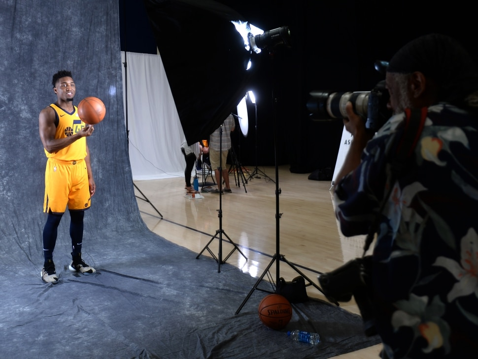 (Rick Egan | The Salt Lake Tribune) Donovan Mitchell, poses for Rick Bowmer from the Associated Press, during the Utah Jazz annual Media Day photo shoot, Monday, Sept. 24, 2018.