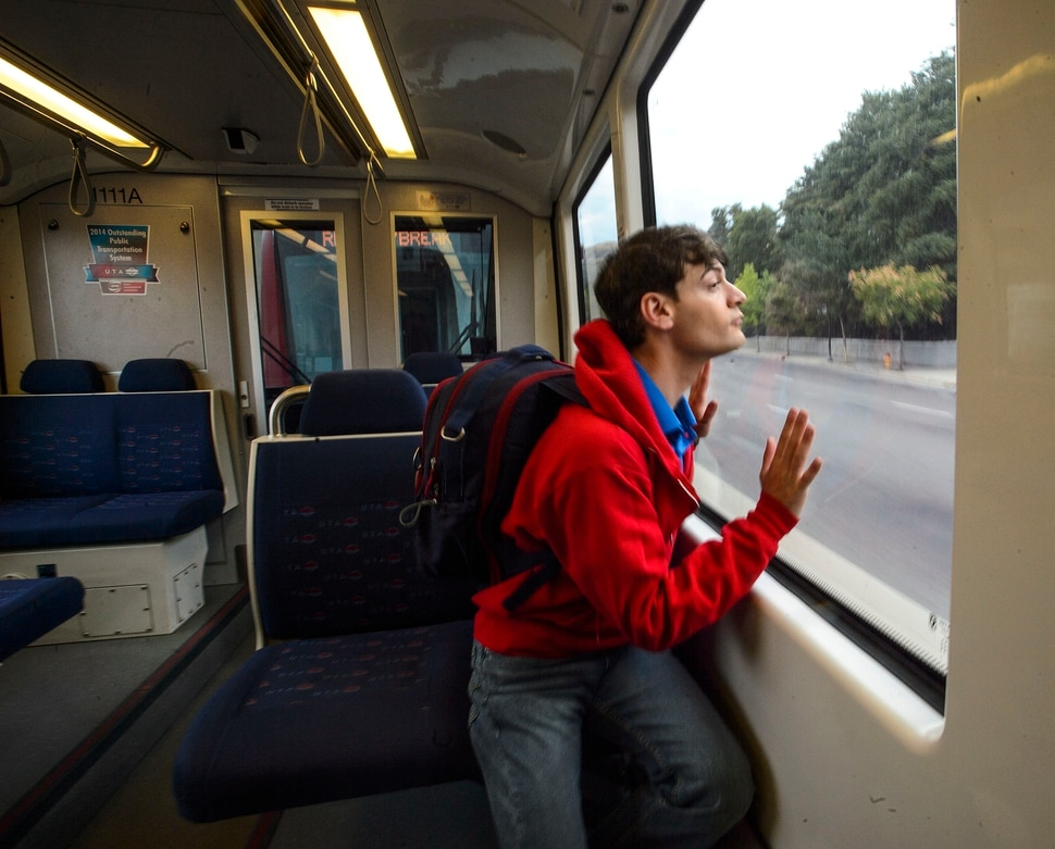 (Steve Griffin | The Salt Lake Tribune) Harrison Bryan as Christopher in Pioneer Theatre Company's The Curious Incident of the Dog in the Night-Time, during promotion photo shoot on a TRAX train in Salt Lake City on Thursday, Aug. 31, 2017. A train is one of the settings in the play.