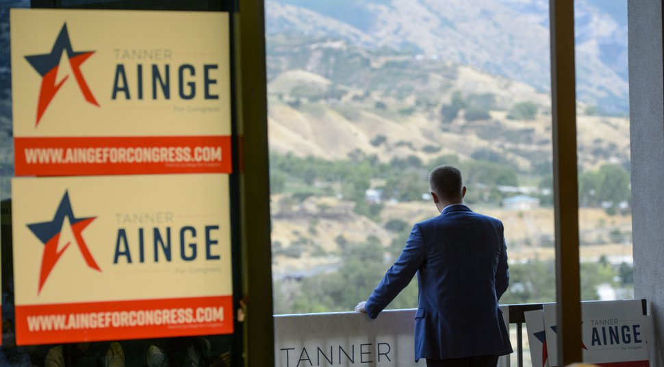 (Steve Griffin | The Salt Lake Tribune) 3rd Congressional District candidateTanner Ainge takes a moment alone as he looks at the Wasatch Mountains outside his election night headquarters in Orem Tuesday August 15, 2017. Early results weren't in Ainge's favor.