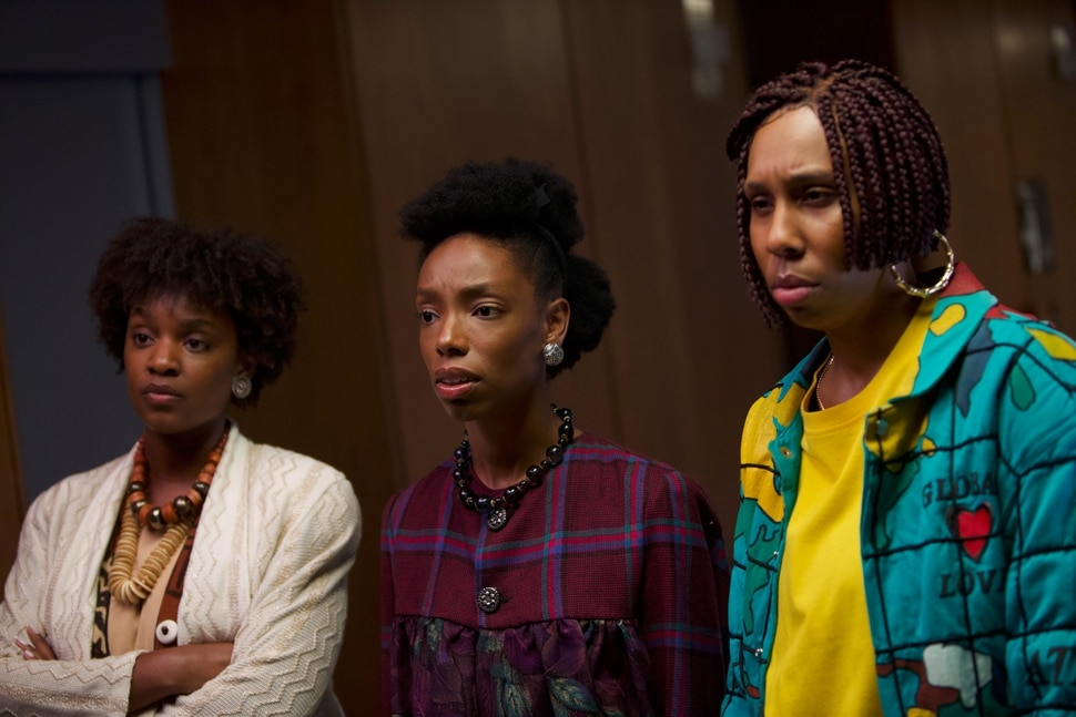 (Photo courtesy of Sundance Institute) Elle Lorraine, center, flanked by Yaani King Mondschein, left, and Lena Waithe, plays a woman whose weave turns evil in Bad Hair, directed by Justin Simien, an official selection of the Midnight program at the 2020 Sundance Film Festival.