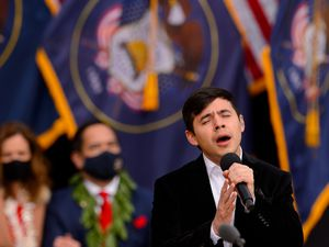 (Trent Nelson  |  The Salt Lake Tribune) David Archuleta performs at the inauguration of Gov. Spencer Cox, at Tuacahn Center for the Arts in Ivins on Monday, Jan. 4, 2021.