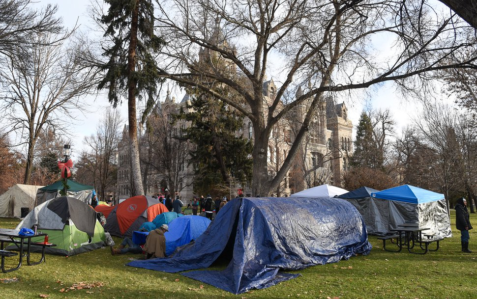 (Francisco Kjolseth | The Salt Lake Tribune) The Take Shelter Coalition, consisting of several community action groups erects shelters on Friday, Jan. 3, 2020, at Salt Lake City Hall to show support of the homeless and to demand shelter and dignity for those who have been living on the streets.