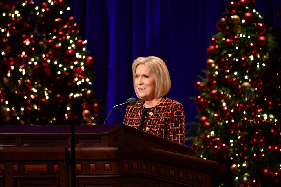 (Photo courtesy of The Church of Jesus Christ of Latter-day Saints) Joy D. Jones, Primary general president, speaks at the 2019 First Presidency Christmas Devotional.