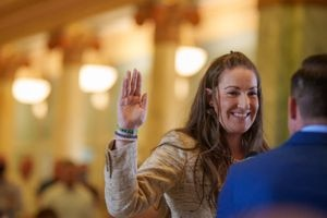 (Trent Nelson  |  The Salt Lake Tribune) Amelia Powers Gardner is sworn in as a Utah County commissioner by Josh Daniels in Provo on Thursday, April 29, 2021. Powers Gardner replaces Tanner Ainge and is the first woman ever to serve on the commission.