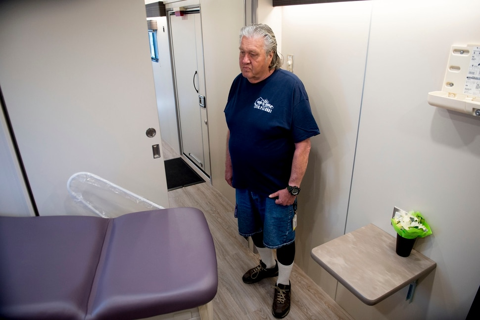 (Jeremy Harmon | The Salt Lake Tribune) Jeff Williams of the Fourth Street Clinic's consumer advisory board, tours their new mobile clinic on Thursday, May 9, 2019. The clinic will serve Salt Lake City's homeless population at three new resource centers and in conjunction with other organizations that provide homeless services.