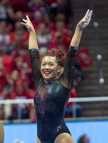 (Rick Egan | The Salt Lake Tribune) The Kari Lee smiles after her routine on the balance beam, in PAC-12 gymnastics action between the UCLA Bruins and the University of Utah, at the Jon M. Huntsman Center, Saturday, Feb. 23, 2019.
