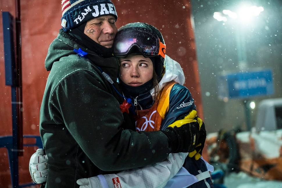 (Chris Detrick   The Salt Lake Tribune) Park City's Jaelin Kauf hugs her step-father Squeak Melehes after competing the Ladies' Moguls Final at Phoenix Park during the Pyeongchang 2018 Winter Olympics Sunday, February 11, 2018. Kauf finished seventh with a score of 76.03.