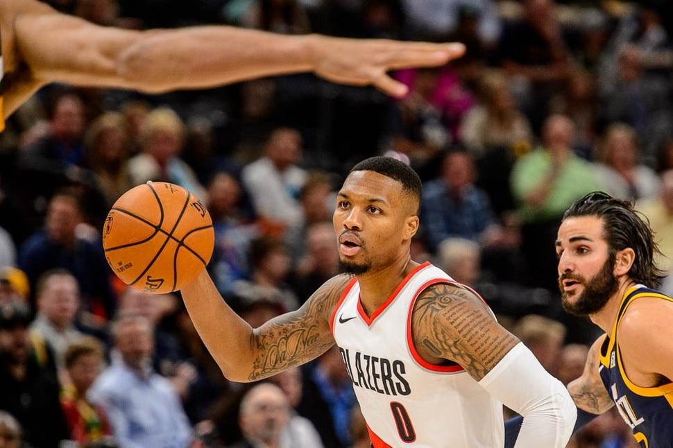 (Trent Nelson   The Salt Lake Tribune) Portland Trail Blazers guard Damian Lillard (0) as the Utah Jazz host the Portland Trail Blazers, NBA basketball in Salt Lake City, Wednesday November 1, 2017.