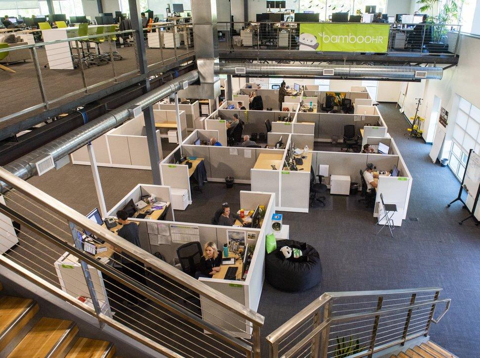 (Rick Egan | The Salt Lake Tribune) BambooHR employees work in the main office building in Lindon, Utah. BambooHR has ranked high in the Top Workplaces survey for six years running.
