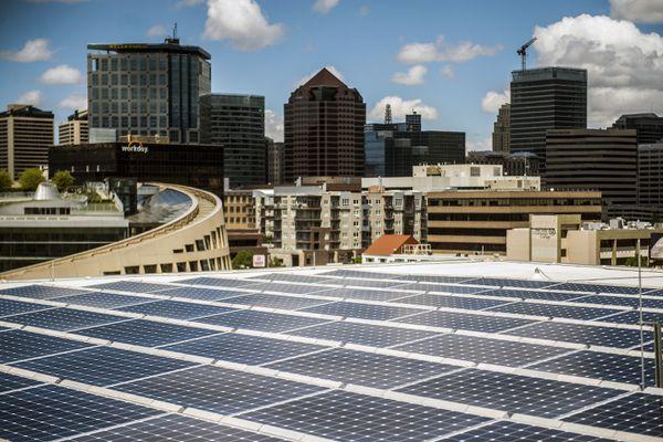 Chris Detrick  |  The Salt Lake Tribune Solar panels on top of the Salt Lake City Public Safety Building.