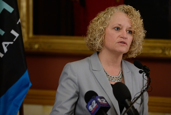(Francisco Kjolseth | The Salt Lake Tribune) Mayor Jackie Biskupski holds a presser at the City County building on Tuesday, Feb. 27, 2018, to speak out against SB234 as written, which creates the Utah Inland Port Authority, saying it deprives the city of local control in taxing and land use decisions.