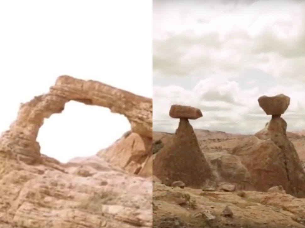 Videos that purport to show the destruction of the arch on the left and the hoodoos on the right recently appeared online.