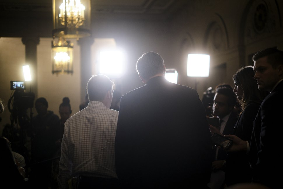 (T.J. Kirkpatrick | The New York Times) Rep. Jim Jordan (R-Ohio), left, and Rep. Mark Meadows (R-N.C.) speak to reporters after a House Intelligence Committee on the impeachment inquiry in Washington on Thursday, Nov. 21, 2019. The House Intelligence Committee, led by its chairman, Rep. Adam Schiff (D-Calif.) is examining the case for impeaching President Donald Trump.