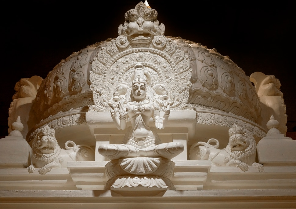 Leah Hogsten   The Salt Lake Tribune Lakshmi is the goddess of wealth and proserity, both material and spiritual. Lakshmi symbolizes good luck. Artisans from around the world spent two years hand-carving deities in the Sri Ganesha Hindu Temple in South Jordan.