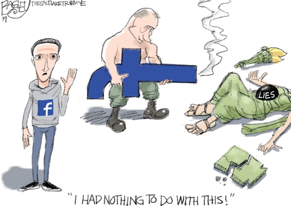 (Pat Bagley | The Salt Lake Tribune) This cartoon, titled Facebook Fatality, appears in The Salt Lake Tribune on Tuesday, Dec. 3, 2019.