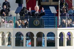 President Joe Biden delivers his inaugural address at the Capitol in Washington on  Wednesday, Jan. 20, 2021. (Chang W. Lee/The New York)
