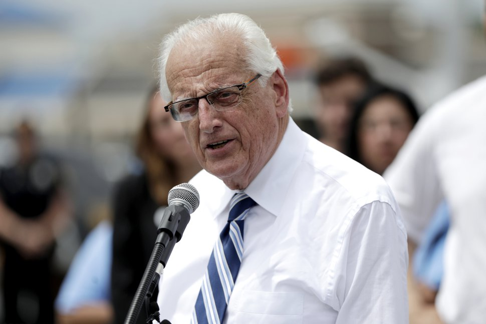FILE- In this June 1, 2018, file photo U.S. Rep. Bill Pascrell Jr., D-N.J., speaks during a news conference talking about the closing of Toys R Us outside of one of the store locations in Totowa, N.J. (AP Photo/Julio Cortez, File)