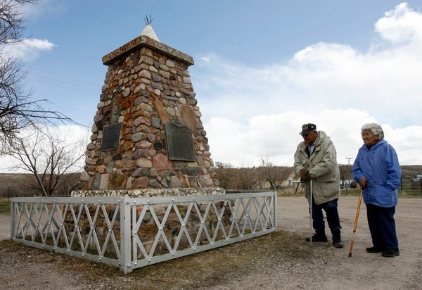 (Rick Egan | Tribune file photo) Helen Timbimboo and Leland Pubigee, at the monument for the Bear River Massacre, near Preston Idaho in 2008.