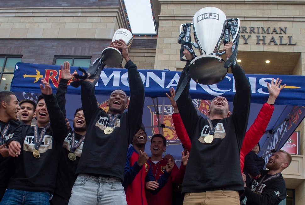 (Rick Egan | The Salt Lake Tribune) The Real Monarchs celebrate their USL Cup Championship, during their championship parade at Lynn Crane Park in Herriman, Wednesday, Nov. 20, 2019.