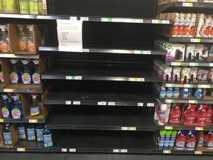 (Jeremy Harmon  |  Tribune file photo) Disinfectant products are shown to be sold out at Winco in Salt Lake City in this March 8, 2020, file photo.
