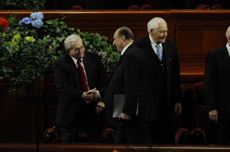 Courtesy | LDS Church President Thomas S. Monson greets President Boyd K. Packer during the October 2010 general conference.