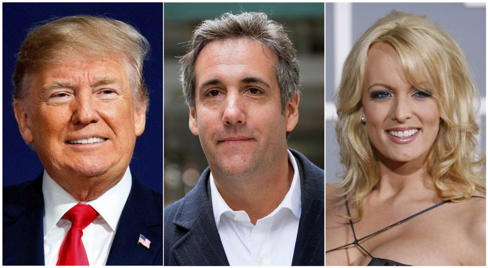 (AP photo) This combination photo shows, from left, President Donald Trump, attorney Michael Cohen and adult film actress Stormy Daniels.