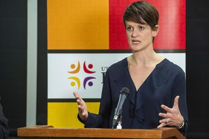 (Rick Egan  |  The Salt Lake Tribune)   Utah Department of Health state epidemiologist Angela Dunn announces the first death in Utah attributed to the coronavirus, during a news conference at the Utah Health Department, Sunday, March 22, 2020.