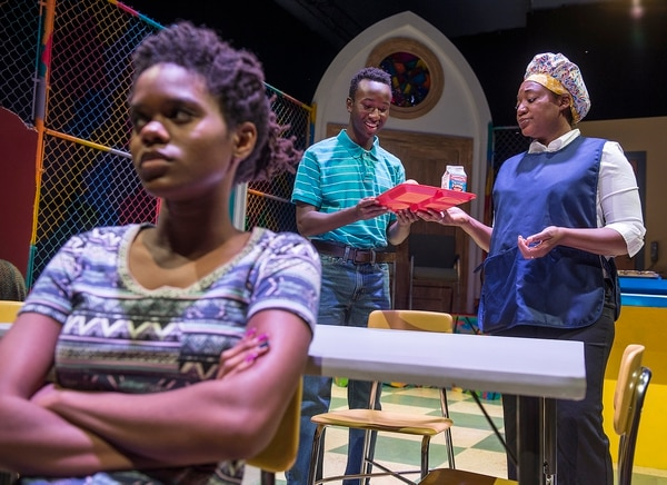 "(Leah Hogsten | The Salt Lake Tribune) l-r Jenna Newbold, Clinton Bradt and Yolanda Wood in SLAC's production of ""Surely Goodness and Mercy."""