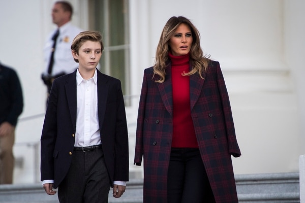 (Jabin Botsford | The Washington Post) Melania Trump and Barron participate in the presentation of the White House christmas tree. She delayed her move to the White House by six months so that he could finish out the school year in New York.
