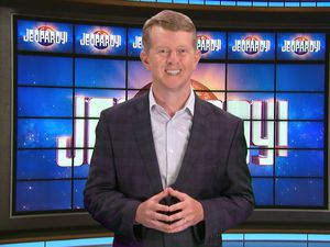 (JEOPARDY! via AP) This image released by JEOPARDY! shows Ken Jennings, a 74-time champion the the set of the popular quiz show.