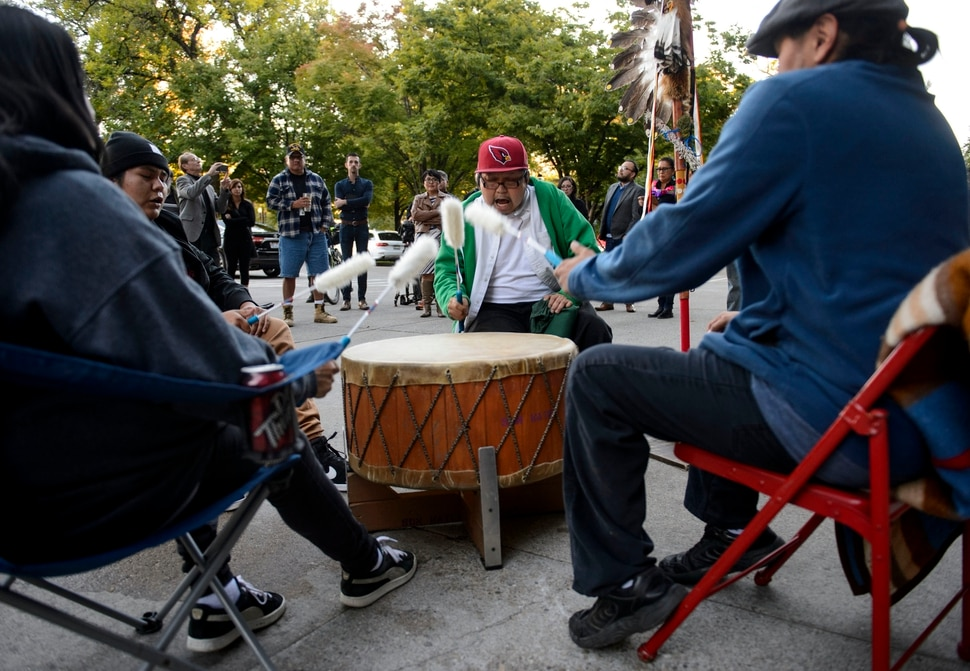 (Steve Griffin   The Salt Lake Tribune) Andrew Reese and his drum group, Sun Watchers, performs as the Utah League of Native American Voters holds a rally in support of the second Monday of October being Indigenous Peoples' Day. The Salt Lake City Council unanimously voted in favor of the resolution in their regular Council Meeting in Salt Lake City Tuesday October 3, 2017. The Utah League of Native American Voters has worked with Council member Charlie Luke (District 6) to bring this resolution to a vote. If successful, Salt Lake City will join 26 other cities across the country in adopting Indigenous Peoples' Day. Replacing Columbus Day with Indigenous Peoples' Day is an important step towards historical truth and cultural reconciliation in this country.