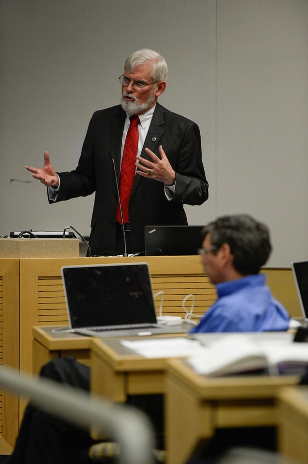 Francisco Kjolseth | The Salt Lake Tribune University of Utah President David Pershing announces A. Lorris Betz as the interim U. Health Care CEO during a meeting at the Spencer F. and Cleone P. Eccles Health and Sciences Building on Monday, May 1, 2017. Pershing also addressed plans for finding a replacement for former Health Care CEO, Vivian Lee.