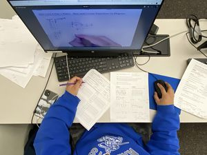 (Rick Egan | The Salt Lake Tribune) A students does her online school work at the Jordan School District Auxiliary Services Building in Riverton, on Monday, March 8, 2021.